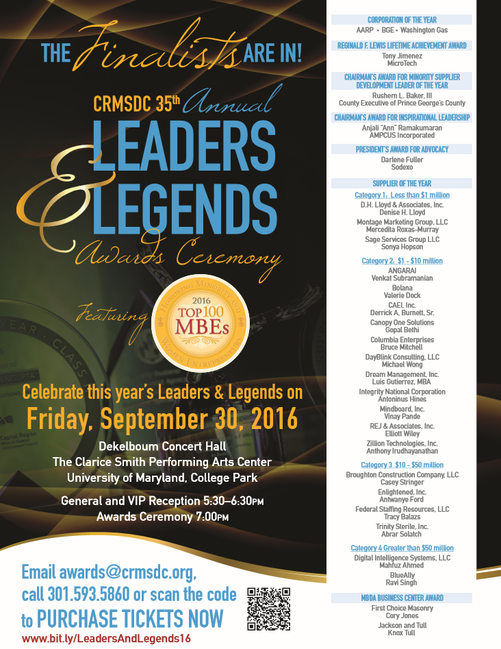 CRMSDC 35th Annual Leaders and Legends Awards Ceremony